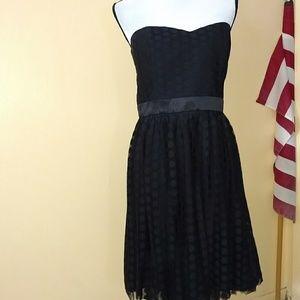 WHBM Black polka dot strapless dress size 12
